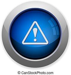 glossy web button blue warning