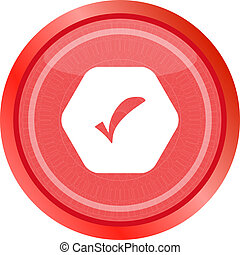 glossy web button with check mark sign, icon isolated on white