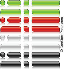 Glossy web buttons of different shapes.