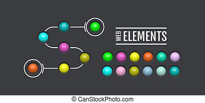 Glossy web elements. Colored oval buttons for your design. 3d glass menu icons. Vector illustration.