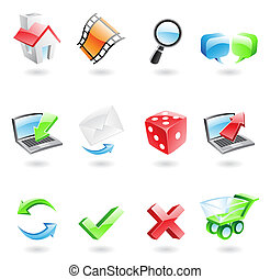 Glossy web icons - Glossy and colourful web icons isolated...