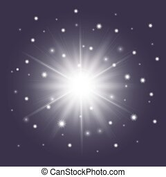 Glossy white star with sparkles. Sunburst symbol