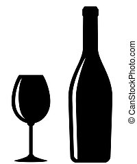 glossy wine bottle and glass - glossy black wine bottle and...