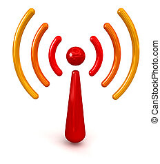 Glossy Wireless Symbol. Image with clipping path
