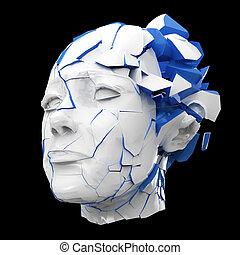 Glossy woman head exploding shuttered - Headache, mental problems, stress