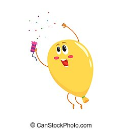 Glossy yellow balloon character with a cracker