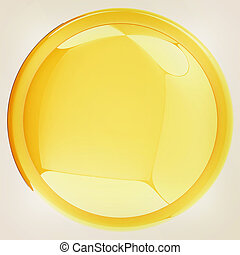 Glossy yellow button. 3D illustration. Vintage style.
