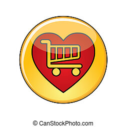 Glossy Yellow Love Shopping Button