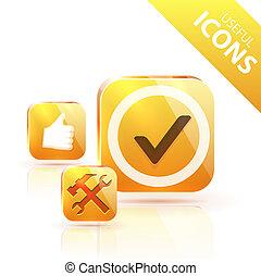 Glossy yellow orange metallic button