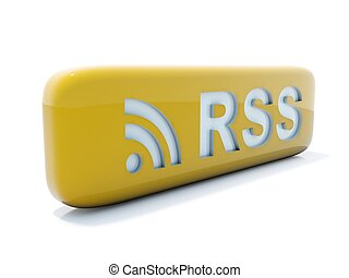 Glossy yellow rss icon isolated on white