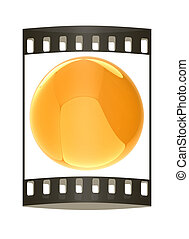 Glossy yellow sphere. The film strip