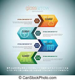 glossza, infographic, nyíl