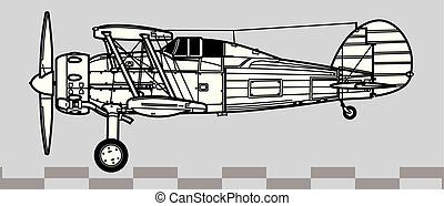 Gloster Gladiator. Outline vector drawing