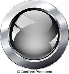 glosy, 網, 抽象的, 金属, 灰色, イラスト, 隔離された, ring., ベクトル, バックグラウンド。, 白, 光沢がある, ボタン