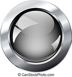 glosy, 웹, 떼어내다, 금속, 회색, 삽화, 고립된, ring., 벡터, 배경., 백색, 빛나는, 단추