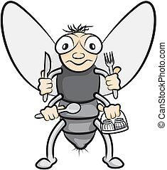 glotón, mosca doméstica