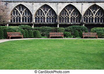 Gloucester Cathedral (garden view) - exterior garden with...