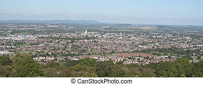 a panoramic picture of Gloucester City, including the Cathedral taken from Robinswood Hill, nr. Maton