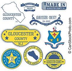gloucester, nj., condado, señales, genérico, conjunto, sellos