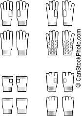 Glove - Vector illustration of winter knitted gloves