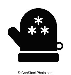 glove glyph flat vector icon