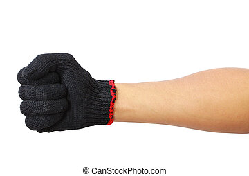 Glove hand in fist isolated on white