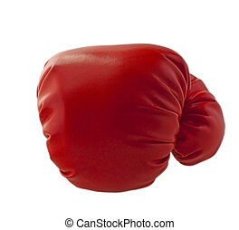 Glove - Red boxe glove throwing a punch, isolated over white