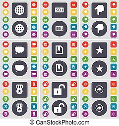Glove, Sell, Hand, Chat cloud, File, Star, Medal, Lock, Back icon symbol. A large set of flat, colored buttons for your design. Vector