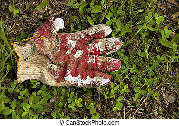 glove - old painted and spoiled gloves