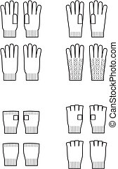 Vector illustration of winter knitted gloves