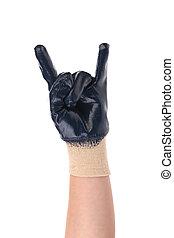 gloved, désaccord, geste, main