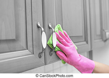 gloved, door., femmes, casier, poussière, main, essuyer