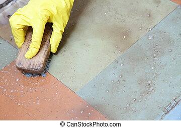 gloved, emelet, kéz, takarítás, mocskos, koszos