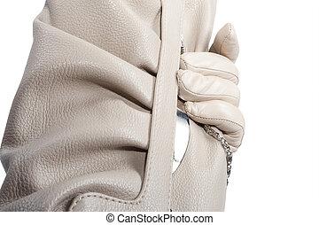 gloved, felett, kéz, purse., birtok, fehér