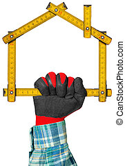 Gloved Hand Holding a Symbolic House