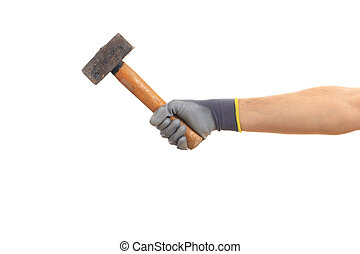 Gloved hand holding an old hammer isolated on white background