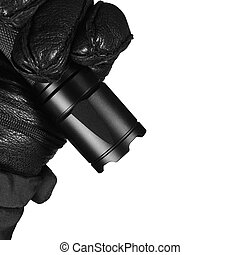 Gloved Hand Holding Tactical Flashlight, Bright Light Emiting Brightly Lit, Serrated Strike Bezel, Black Grain Leather Glove And Cop Jacket, Large Detailed Isolated Vertical Closeup, Patrolling Police Security Guard Staff Policeman, Covert Operations Patrol Forensic Field Duty Officer, Studio Shot