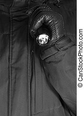 Gloved Hand Holding Tactical Flashlight, Bright Light Emiting Brightly Lit, Serrated Strike Bezel, Black Grain Leather Glove And Cop Jacket, Large Detailed Vertical Closeup, Patrolling Police Security Guard Staff Policeman, Covert Operations Patrol Forensic Field Duty Officer, Studio Shot