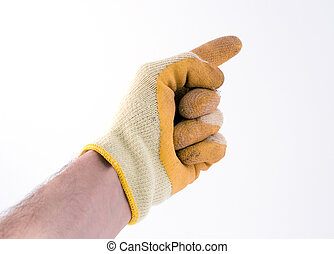 gloved hand pointing (part of a set)