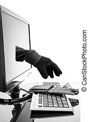 Gloved hand of a thief stealing wallet through a computer screen. Concept of internet crime.