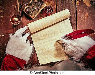 gloved, vader, boekrol, handen, schrijvende , kerstmis