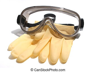 Gloves and Goggles - Latex gloves and safety goggles