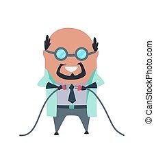 gloves., blanc, fou, laboratoire, mal, isolé, lab., illustration, scientifique, prof, rire, sombre, caoutchouc, fou, vecteur, manteau, docteur, recherche, scientist., fond, stereotype., laboratoire