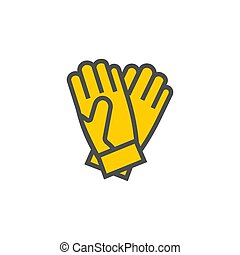 Gloves colorful vector icon, garden tool and clothes - ...