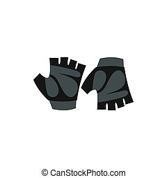 Gloves for biker icon, flat style