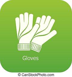 Gloves icon green vector