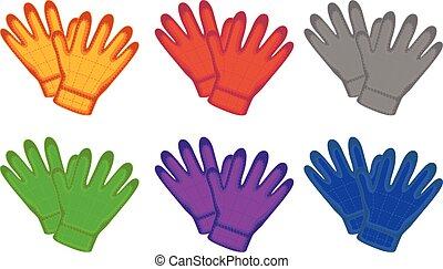 Illustration of different color gloves