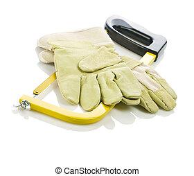 gloves on hacksaw