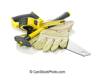 Gloves, tapeline, saw and hammer