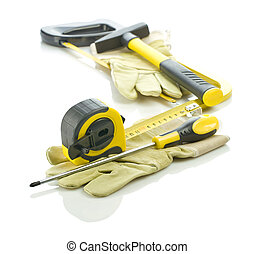 gloves with stack of tools